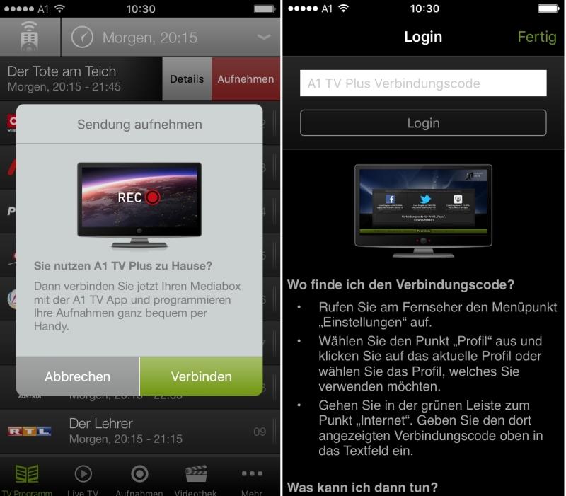 A1 Mobil TV App mit Mediabox verbinden