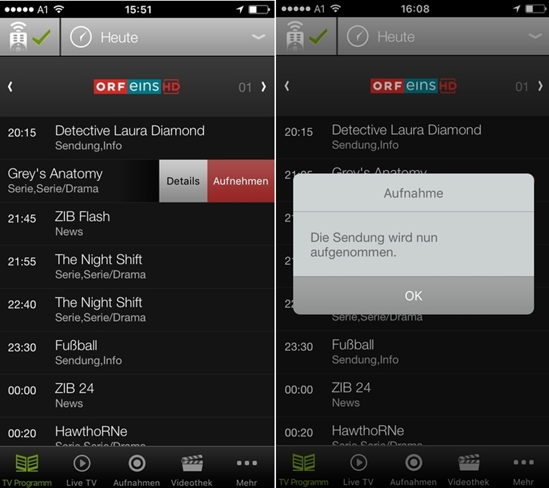 A1 TV App View Control Aufnahme starten