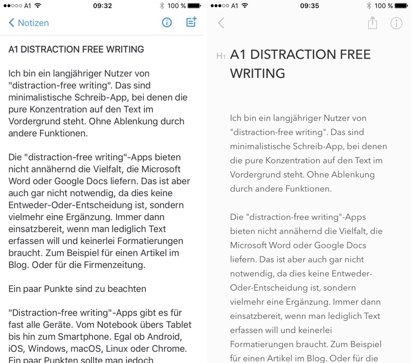 Distraction-free Writing - links Simplenote / rechts Bear