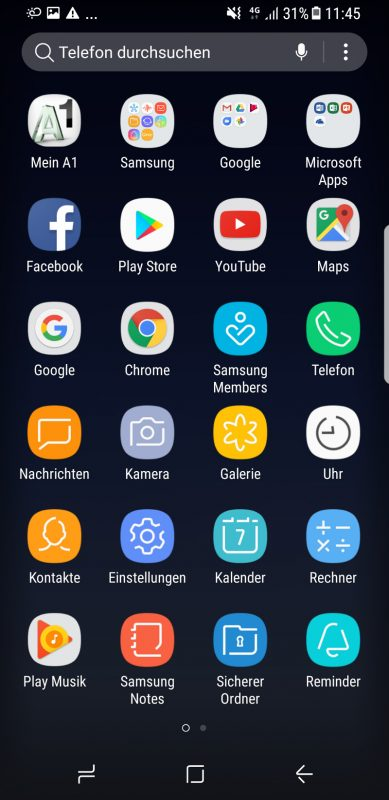 App Drawer des Samsung Galaxy S8