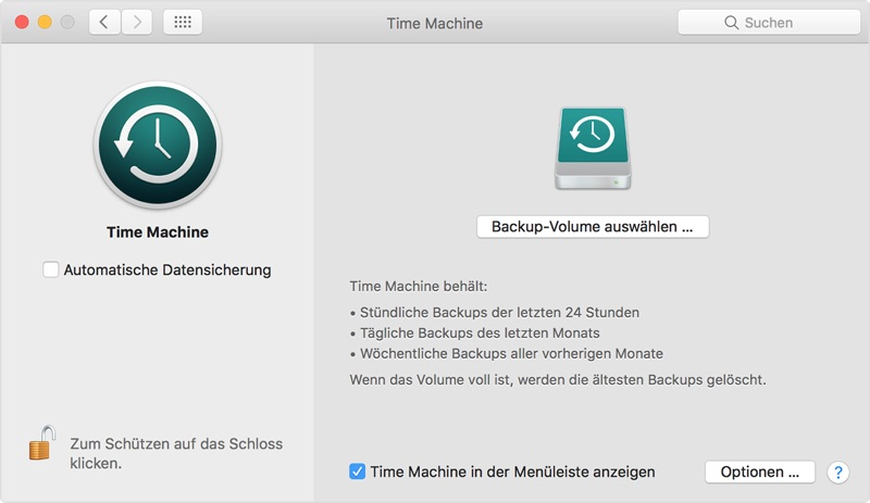 Backup am Mac mit der Time Machine
