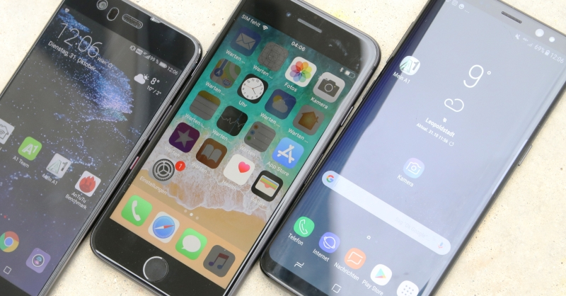 Vergleich Apple iPhone 8, Hauwei P10, Samsung Galaxy S8