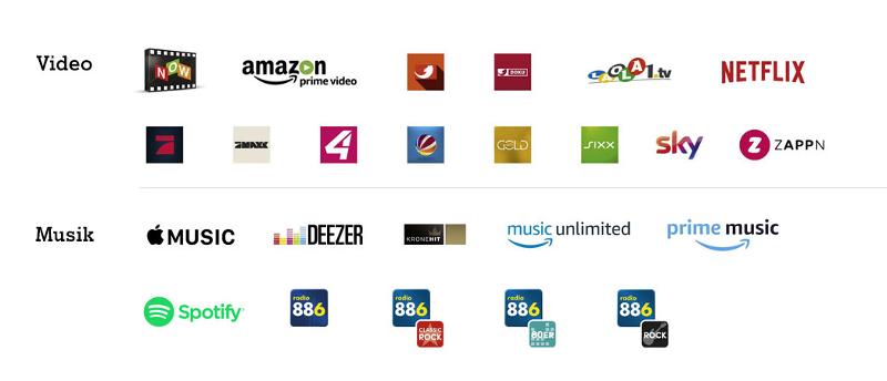 A1 Free Stream: Unterstützte Partner