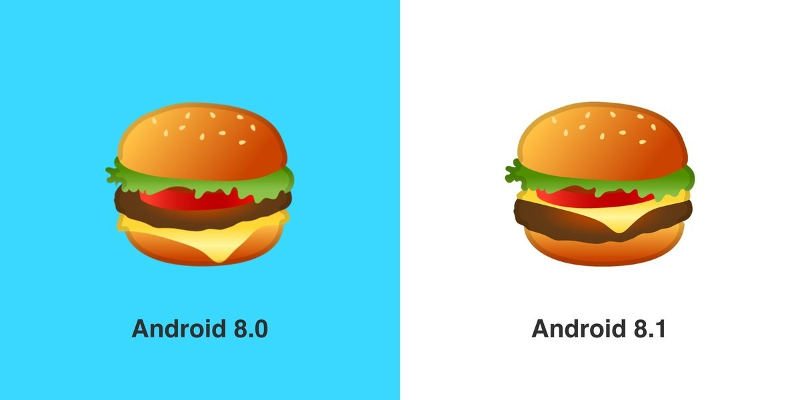 Android 8.1: Cheeseburger Emoji
