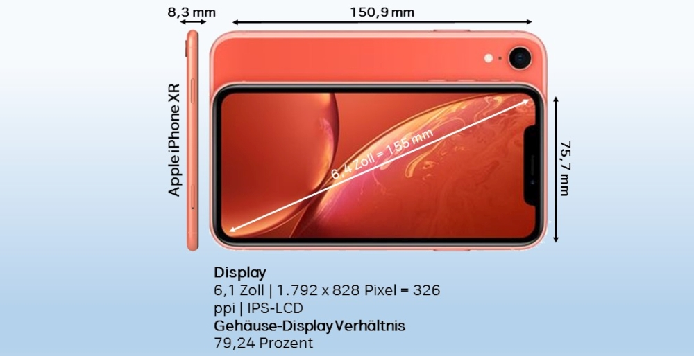 Apple iPhone XR Test Abmessungen