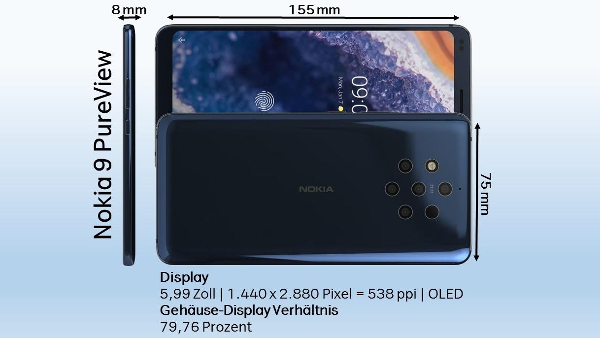 Nokia 9 PureView Abmessungen Dimensionen