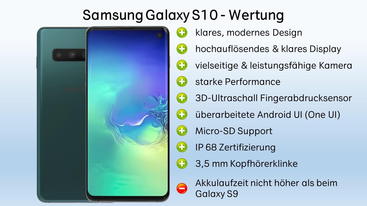 Samsung Galaxy S10 Test Fazit Wertung Verdict