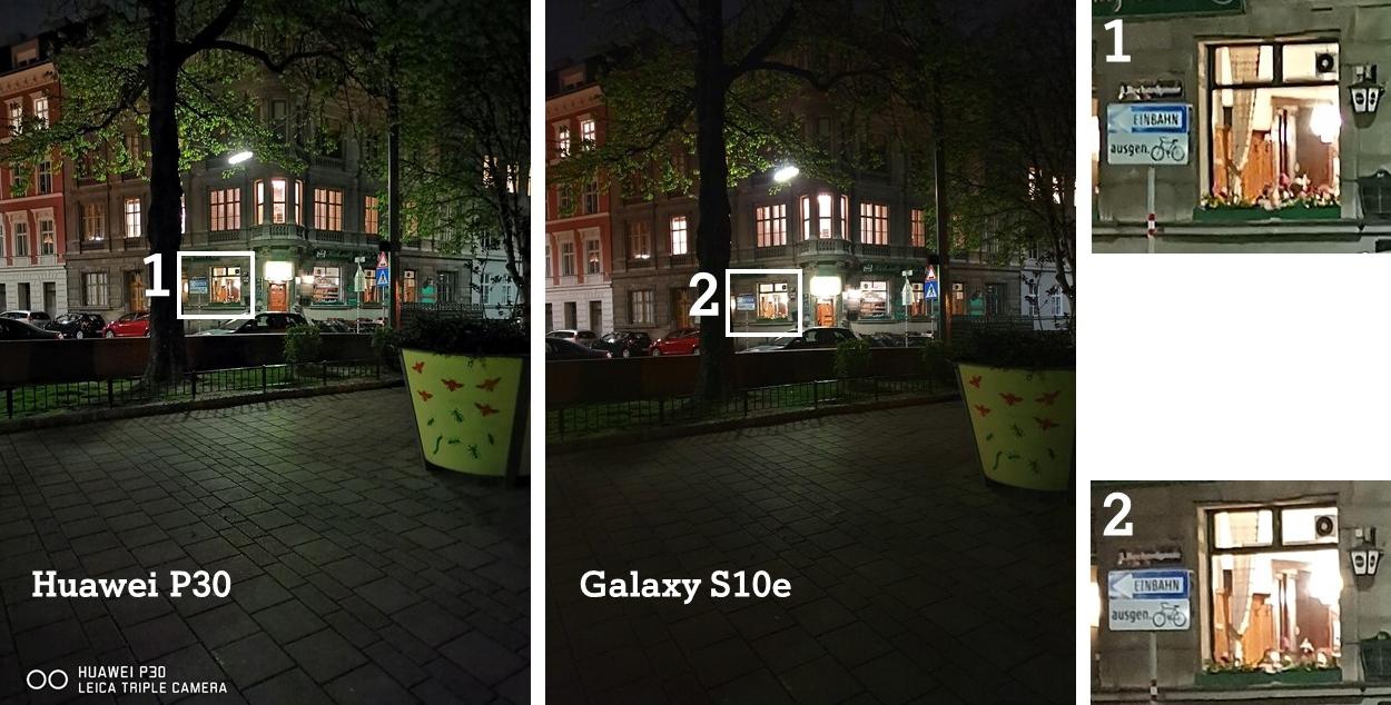Huawei P30 vs. Galaxy S10e Kamera Vergleich Nacht