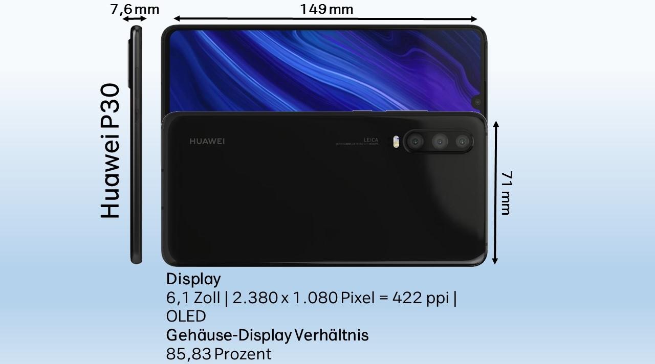 Huawei P30 Test Abmessungen Dimensionen