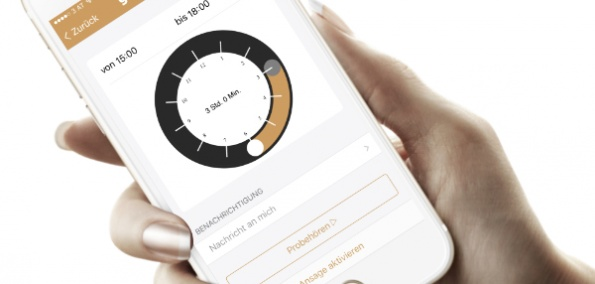 Zeitansage im der Mobilboxmanager-App am Smartphone