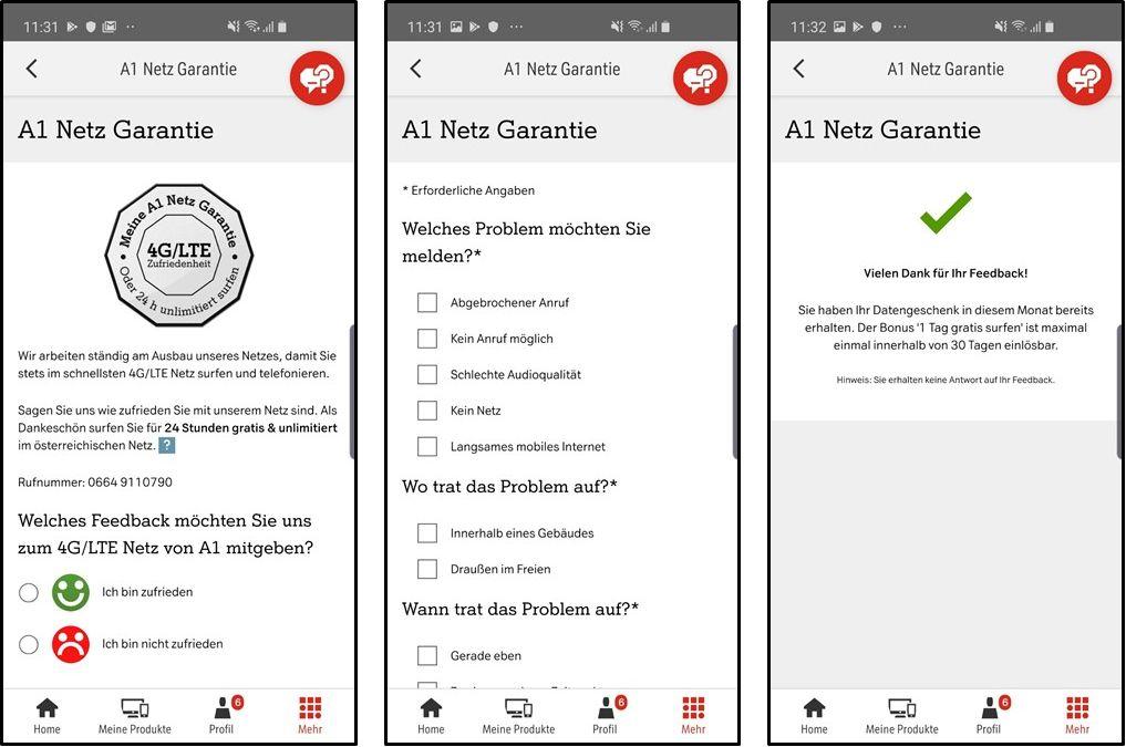 A1 Netz Garantie in der Mein A1 App