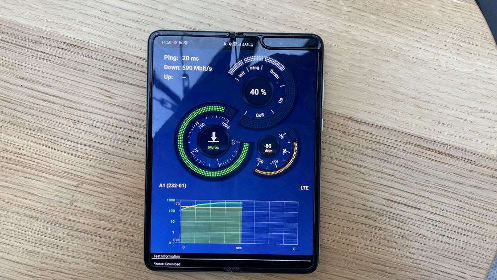 Samsung Galaxy Fold 5G Test mobiles Netz Speedtest