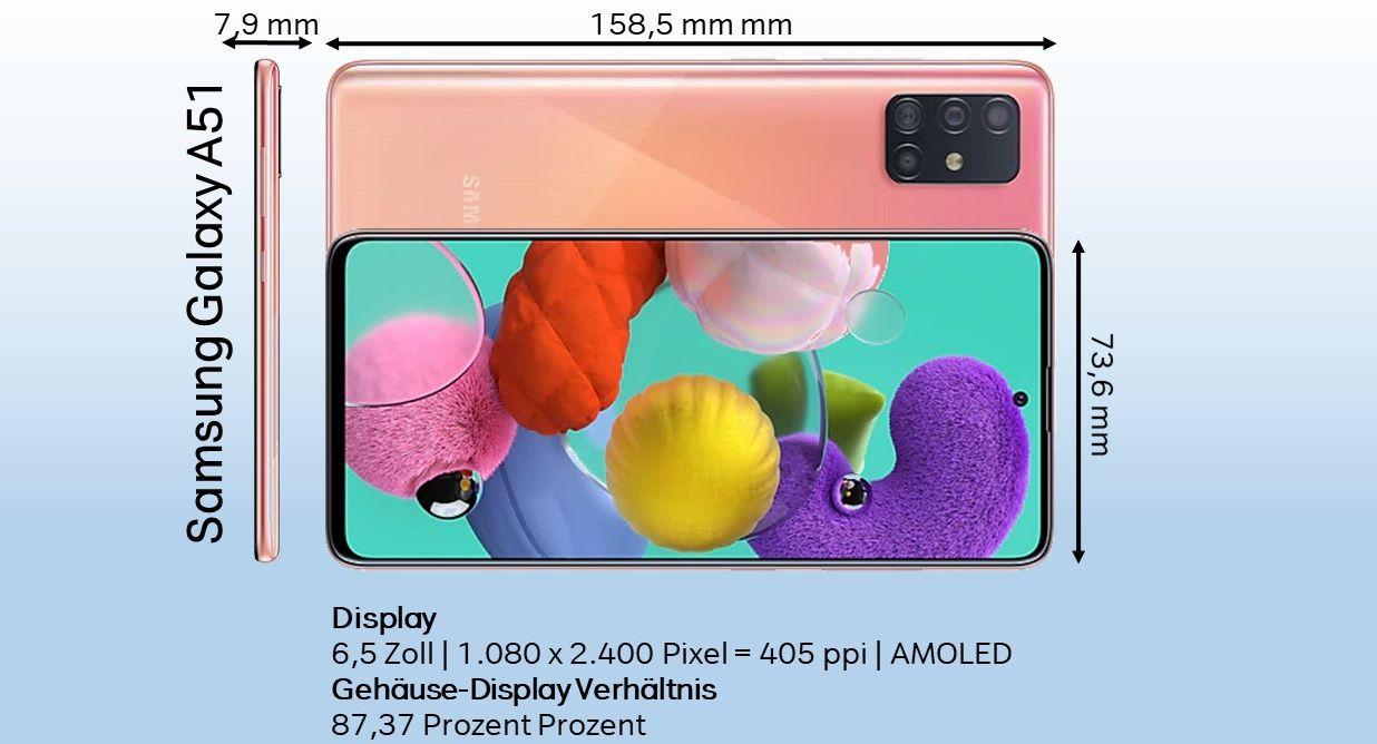 Samsung Galaxy A51 Design Test Größe