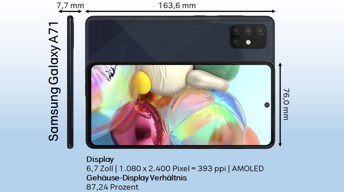 Samsung Galaxy A71 Test - Design, Abmessungen