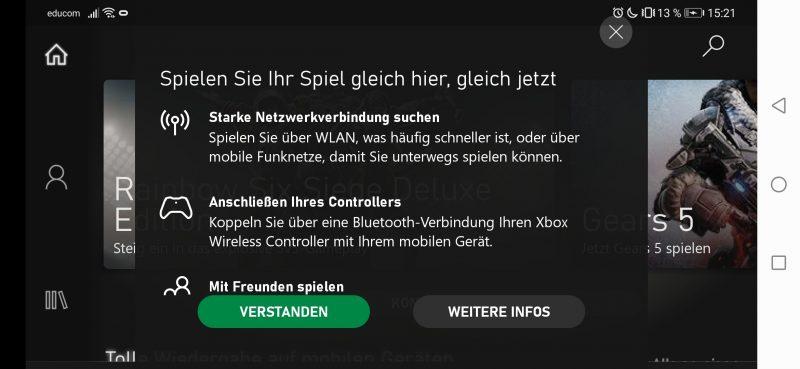 Voraussetzungen für xCloud.gamepass