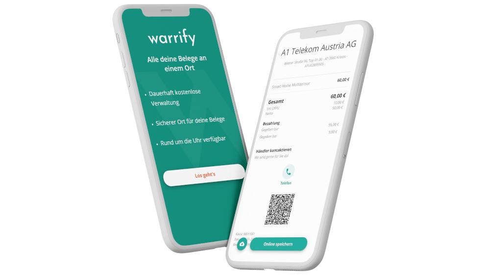 warrify App geöffnet am Smartphone