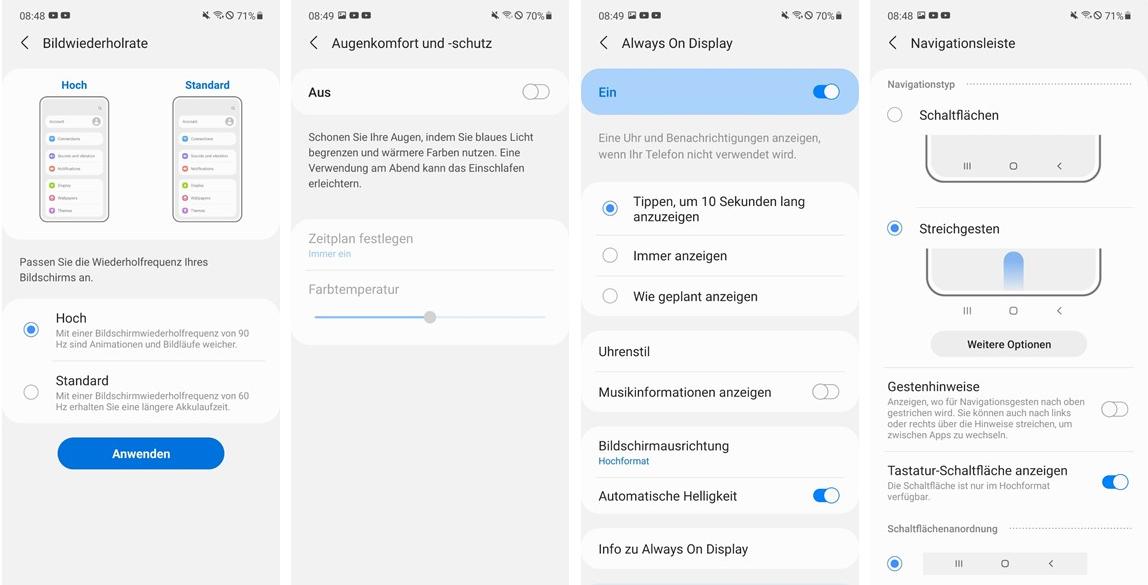 Samsung Galaxy A72 Test Screenshots Display Settings