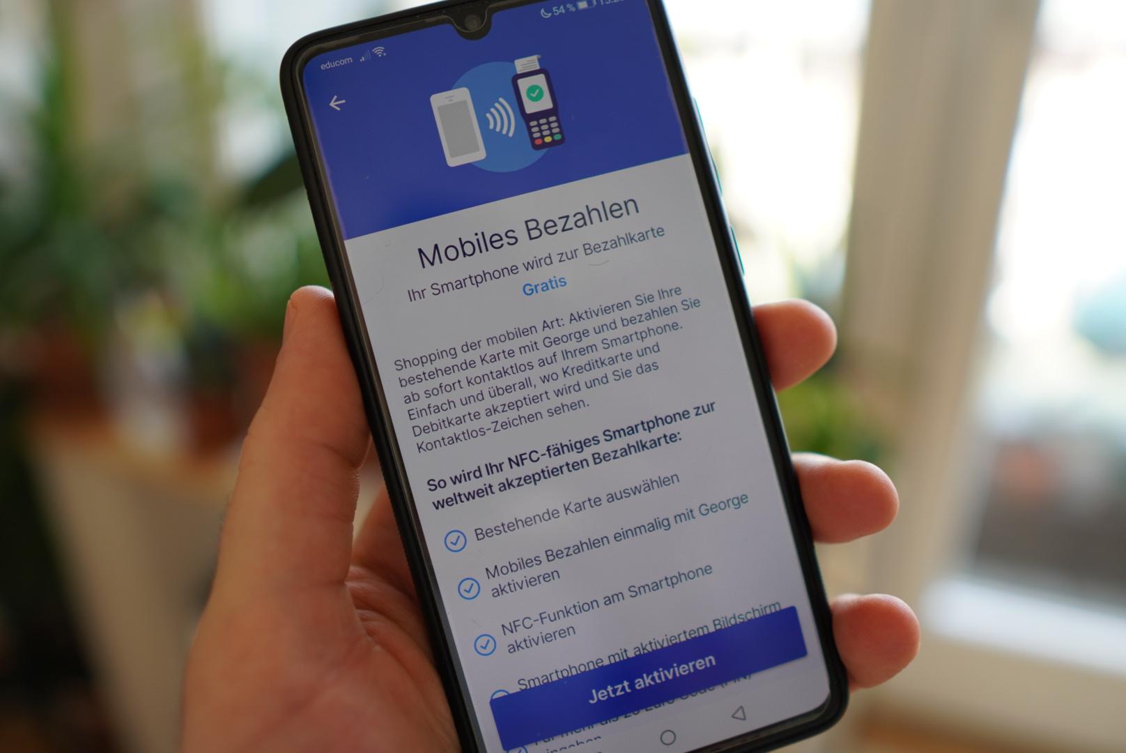 Smartphone mit mobilem Bezahlen